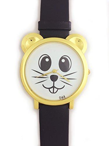 UK Analog Cute Maus Face Armbanduhr mit Gold Ohren und schwarz Gurt Baer Katze Hamster Rat Degu