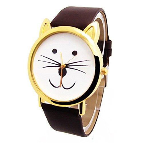UK Cute Cat Face Armbanduhr mit goldfarbene Ohren und brauner Riemen Kaetzchen Kitty
