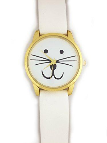 UK Cute Cat Face Armbanduhr mit goldfarbene Gesicht und weiss Gurt Kaetzchen Kitty