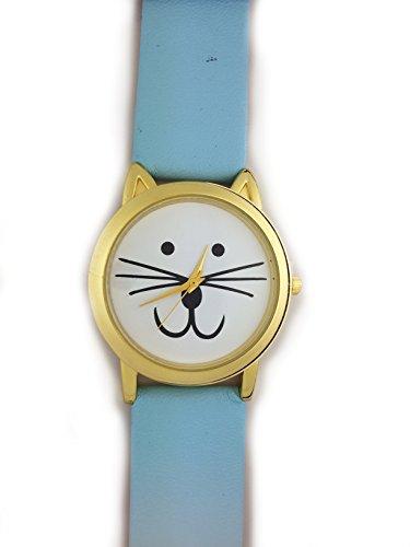 UK Cute Cat Face Armbanduhr mit goldfarbene Ohren und Blau Gurt Kaetzchen Kitty