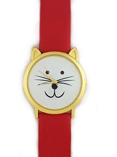 UK Cute Cat Face Armbanduhr mit goldfarbene Ohren und rot Gurt Kaetzchen Kitty