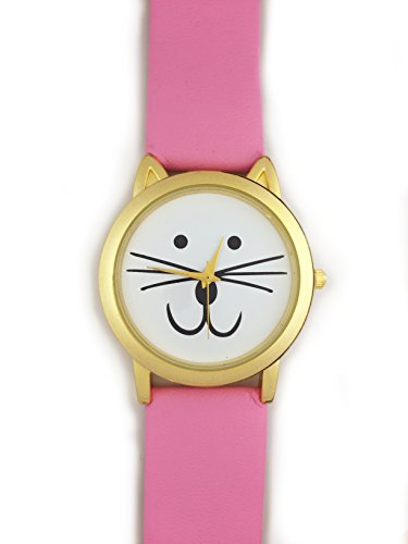 UK Cute Cat Face Armbanduhr mit goldfarbene Ohren und Rosa Gurt Kaetzchen Kitty