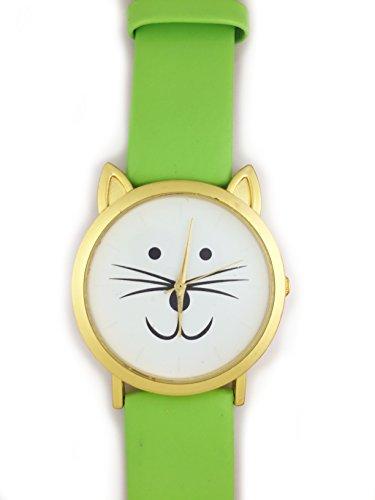 UK Cute Cat Face Armbanduhr mit goldfarbene Ohren und Gruen Gurt Kaetzchen Kitty