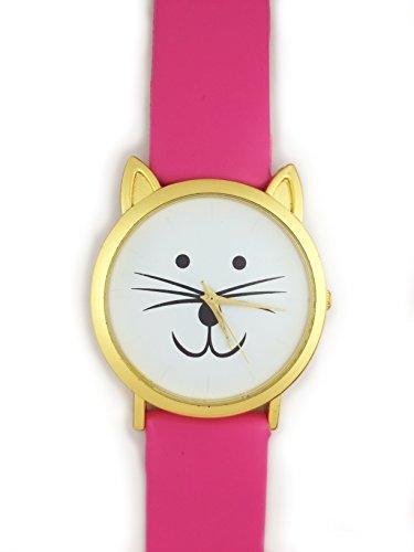UK Cute Cat Face Armbanduhr mit goldfarbene Ohren und Dark Pink Gurt Kaetzchen Kitty