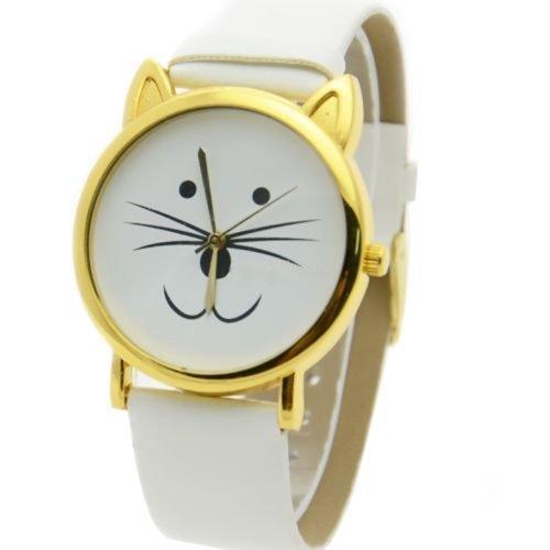 UK Cute Cat Face Armbanduhr mit goldfarbene Ohren und weiss Gurt Kaetzchen Kitty