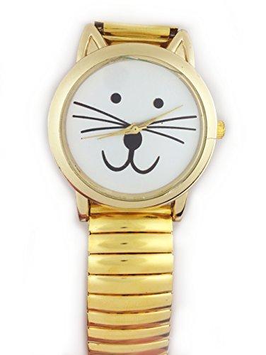 UK Cute Cat Face Armbanduhr mit goldfarbene Ohren und goldfarbene Gurt Kaetzchen Kitty
