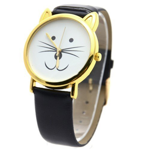UK Cute Cat Face Armbanduhr mit goldfarbene Ohren und schwarz Uhrenarmband Kaetzchen Kitty