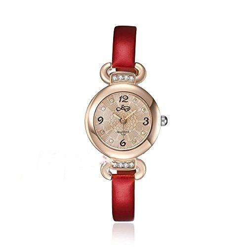 CS Priority Damen Quarzuhr mit Golden Zifferblatt Analog Anzeige und rotem Leder Armband