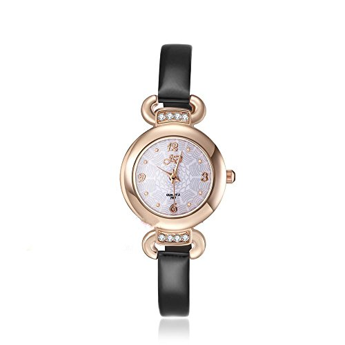 CS Priority Damen Quarzuhr mit weissem Zifferblatt Analog Anzeige und schwarz Leder Armband