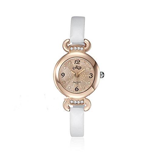CS Priority Damen Quarzuhr mit Golden Zifferblatt Analog Anzeige und Weiss Leder Armband