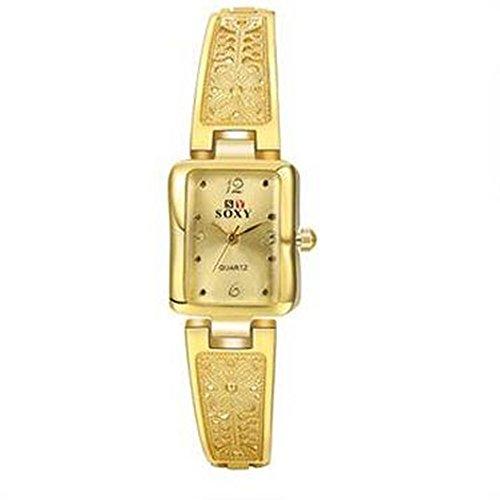 CS Priority Golden Zifferblatt Analog Anzeige und Golden Armband Uhr fuer Frauen Lady wh0014j