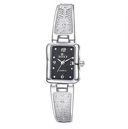 CS Priority schwarz Zifferblatt Analog Anzeige und Weiss Armband Uhr fuer Frauen Lady wh0014 a