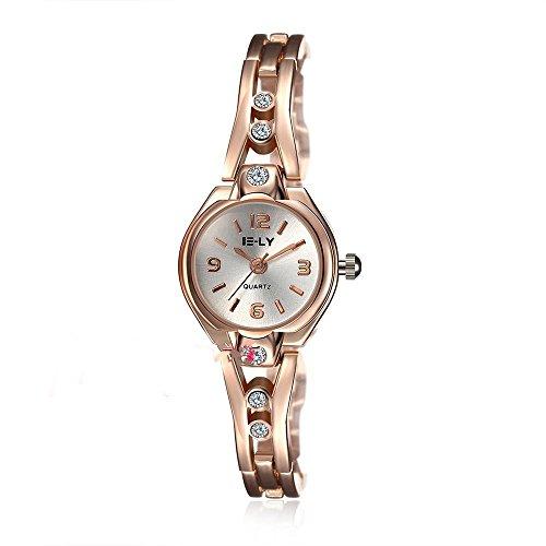 CS Priority Quarzuhr mit Golden Zifferblatt Analog Anzeige und Golden Armband Inlay Kuenstliche Diamant fuer Frauen Lady