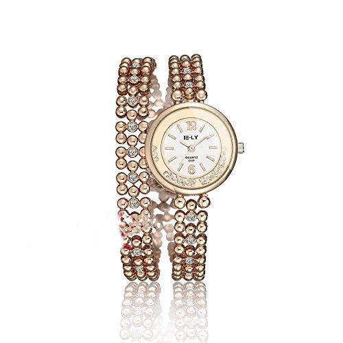 CS Priority Pink und Weiss Zifferblatt Analog Anzeige und Rose Golden Hohl Armband Armbanduhr Inlay Kuenstliche Diamant fuer Frauen Lady