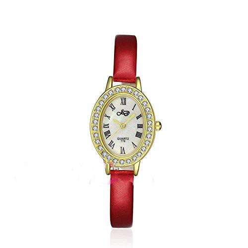 CS Priority Quarzuhr mit weissem Zifferblatt Analog Anzeige und rotem Leder Armband Inlay Kuenstliche Diamant fuer Frauen Lady whjd0006 2