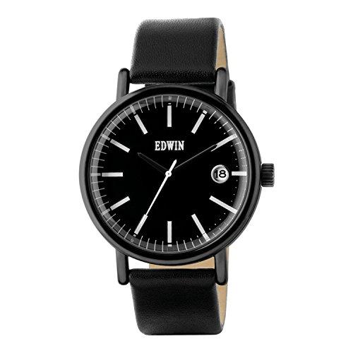 Edwin ew1g001l0044 Epic Herren Schwarz Leder Band Schwarz Zifferblatt Armbanduhr