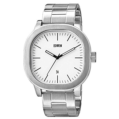 Edwin ew1g016 m0064 Herren Anderson Silber Armband Band weiss Zifferblatt Uhr