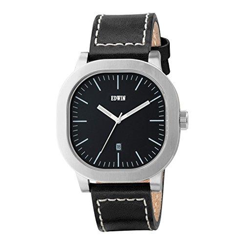 Edwin ew1g016l0024 Herren Anderson Schwarz Leder Band Schwarz Zifferblatt Armbanduhr