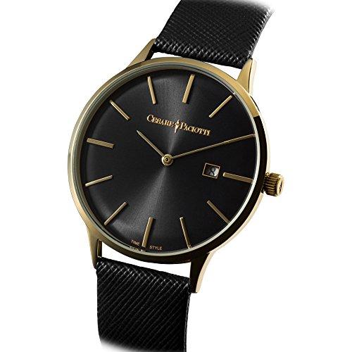 Uhr Cesare Paciotti Herren 42 mm tsst121 nur Zeit Gehaeuse Stahl IP gold Armband Leder