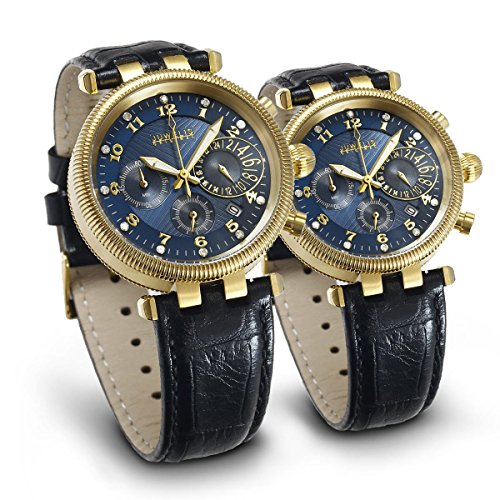 Juwelis Partner Set JW7217GB 7218GB Hera Zeus Chronographen Partneruhren mit Diamanten