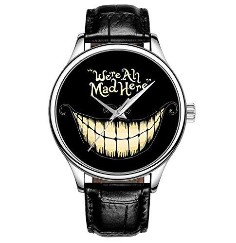 Lovache Damenarmbanduhren Analog Quarz Uhr mit Leder Armband Schwarz Lustiger Entwurf