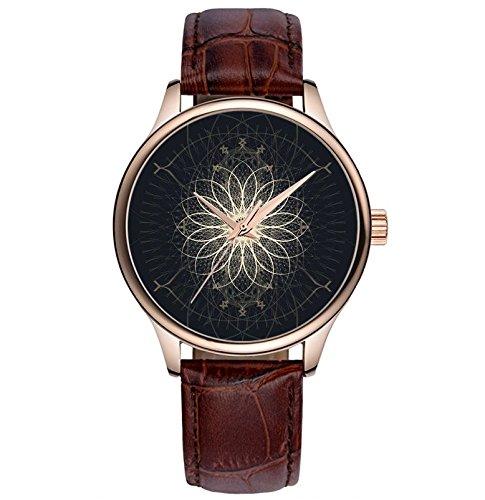 Lovache Damenuhr Armband Braun Arbeiten Analoge Quarz Armbanduhr Blumenkunst