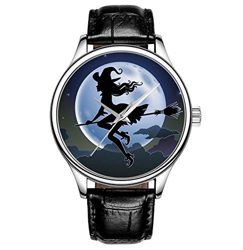 Lovache Damenuhr Armband Schwarz Arbeiten Analoge Quarz Armbanduhr Schoene Hexe unter hellen Mond