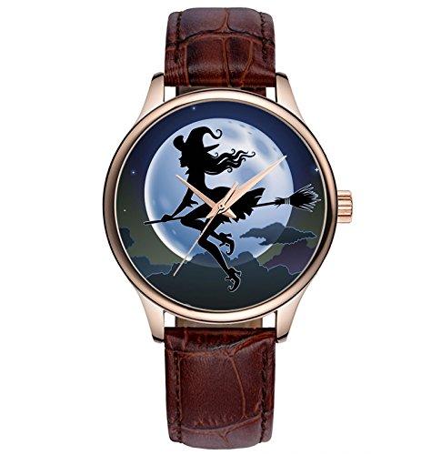 Lovache Damenuhr Armband Braun Arbeiten Analoge Quarz Armbanduhr Schoene Hexe unter hellen Mond