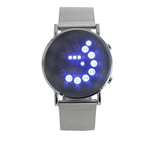 LED Herren Damen Armbanduhr lacaca LED Runde Spiegel Blaue Kreise Edelstahl Armbanduhr Armband Silber