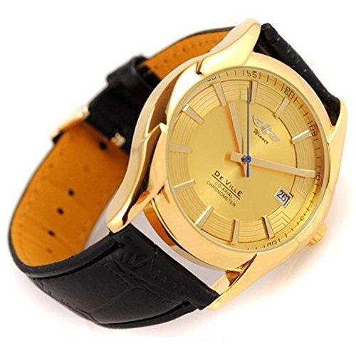 lacaca Luxus Herren Mechanische Automatischer Kalender Leder Band Armbanduhr schwarz