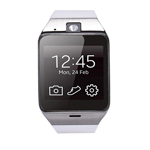 lacaca Schrittzaehler gv18 orologio Bluetooth smart orologio Handy gsmimpermeabile fuer Android Samsung Weiss