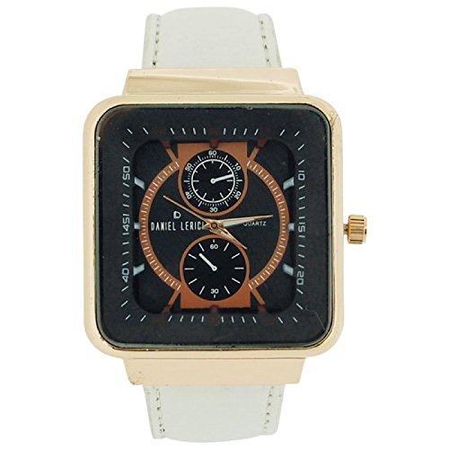 Daniel Lericci Herren Uhr schw Chronoeffekt Zifferbl weisses PU Uhrband
