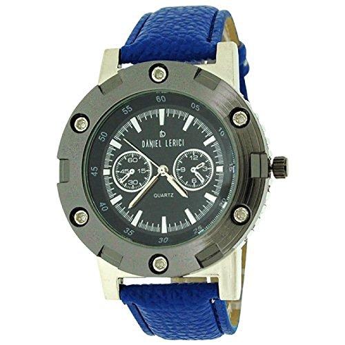 Daniel Lericci Herren Uhr schw Chronoeffekt Zifferbl blaues PU Uhrband