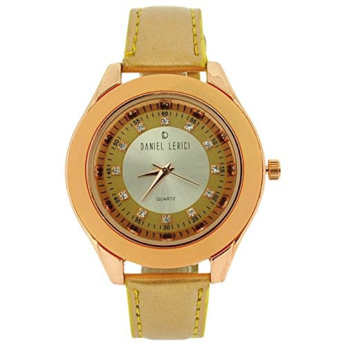 Daniel Lericci Damenuhr kristallb gold Zifferbl roseg Geh gold Uhrband