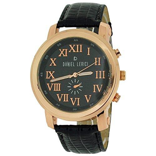 Daniel Lericci Herren Uhr rosegoldf Gehaeuse schw Zifferbl schw Uhrband