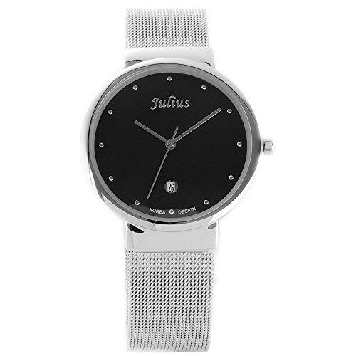 JULIUS 426 Herrenmode klassischen analogen Quarz Edelstahl Armbanduhr mit Tag Anzeige Schwarz