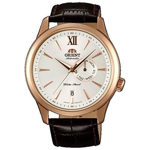Orient Herren 43mm Automatikwerk Braun Leder Armband Mineral Glas Uhr FES00004W0