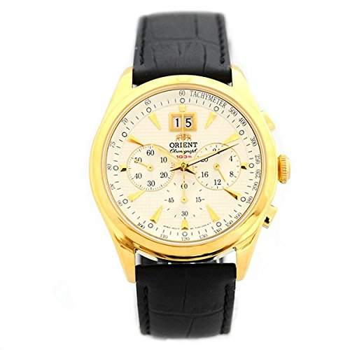 ORIENT Uhr Dressy elegant Quarz Herrenuhr Datum Chrono Leder Sport Gold FTV01002W0