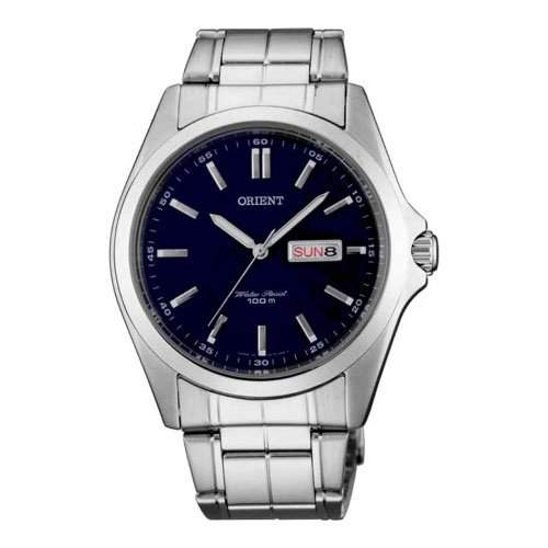 Orient Herren 40mm Silber Edelstahl Armband & Gehaeuse Datum Uhr FUG1H001D6
