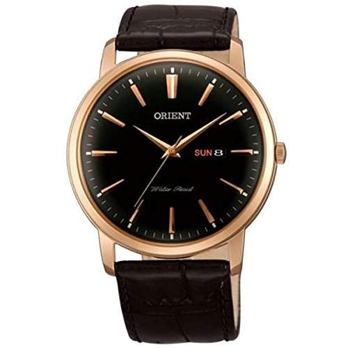 Orient Herren 43mm Schwarz Leder Armband Rotgold Gehaeuse Datum Uhr FUG1R004B6