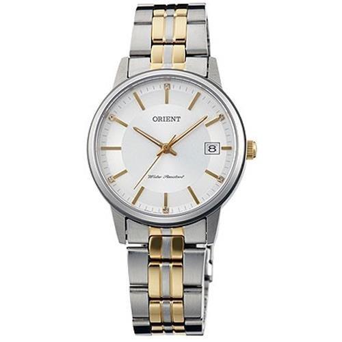 Orient 32mm Armband Zweifaerbiger Edelstahl Zwei Ton Gehaeuse Edelstahl Batterie FUNG7002W0