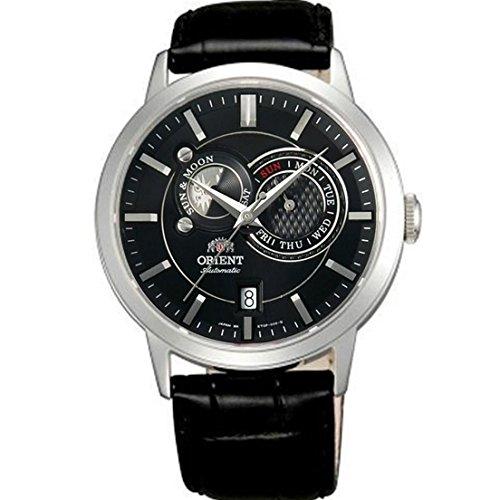 Orient 42mm Armband Leder Schwarz Gehaeuse Edelstahl Saphirglas Automatik FET0P003B0