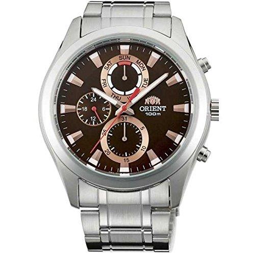 Orient Armband Edelstahl Gehaeuse Batterie Zifferblatt Braun Analog FUY07002T0