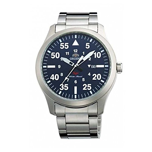 Orient 42mm Armband Edelstahl Gehaeuse Saphirglas Batterie Zifferblatt Blau FUNG2001D0