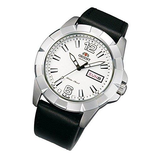 Orient Herrenarmbanduhr Sporty Automatik white Tag Datum Lederband EM7L007W9