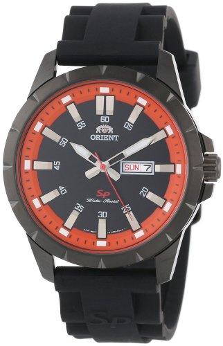 ORIENT Herrenarmbanduhr Sporty orange Quarz Uhr Kautschuk Tag Datum FUG1X009B9