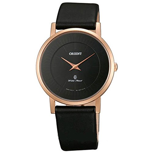 Orient Herren Schwarz Leder Armband Edelstahl Gehaeuse Uhr FUA07001B0
