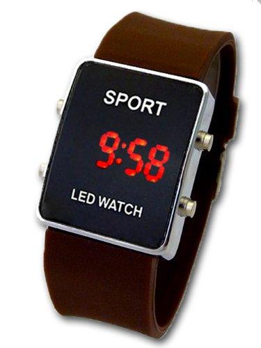 Sportliche LED Uhr mit Kautschuk Armband G 33 Unisex Braun