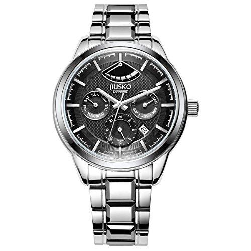 jiusko Herren 205lsb02 Edelstahl 26 Jewel Automatische 24 Hr komplett Kalender Silber Kleid Armbanduhr