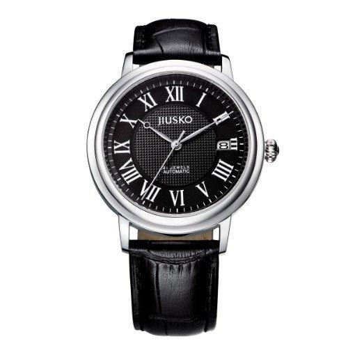 jiusko Luxus 21 Jewels Automatische Bewegung Kalender Schwarz Leder Kleid Armbanduhr 35l0202